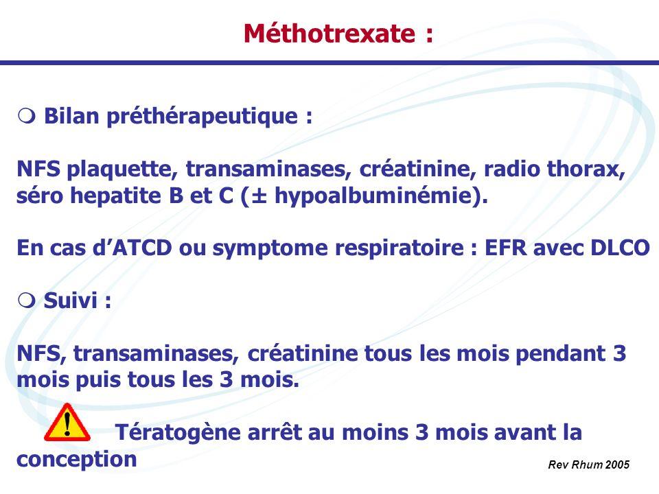 Méthotrexate : Bilan préthérapeutique : NFS plaquette, transaminases, créatinine, radio thorax, séro hepatite B et C (± hypoalbuminémie). En cas dATCD
