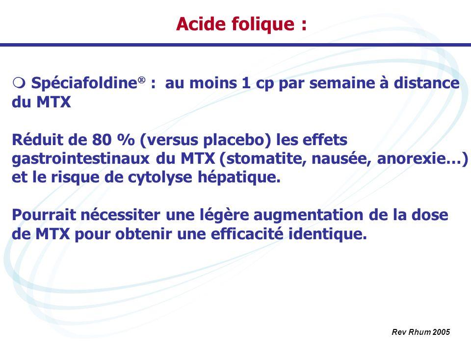 Acide folique : Spéciafoldine : au moins 1 cp par semaine à distance du MTX Réduit de 80 % (versus placebo) les effets gastrointestinaux du MTX (stoma