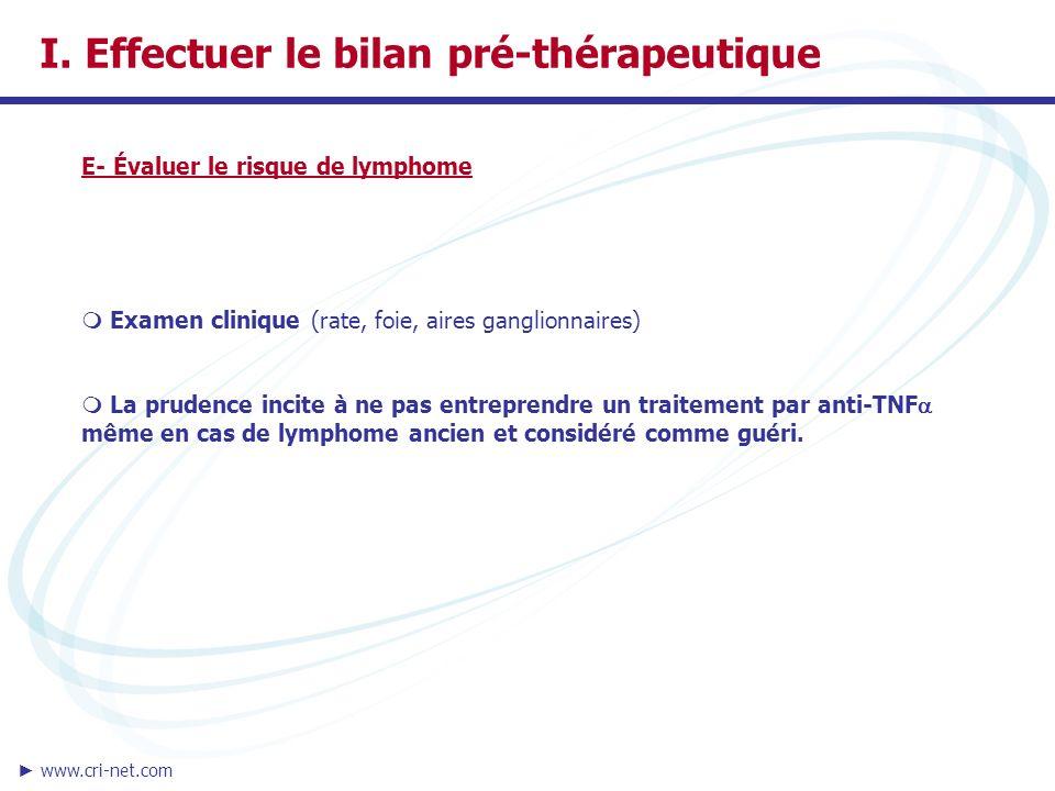 I. Effectuer le bilan pré-thérapeutique E- Évaluer le risque de lymphome Examen clinique (rate, foie, aires ganglionnaires) La prudence incite à ne pa