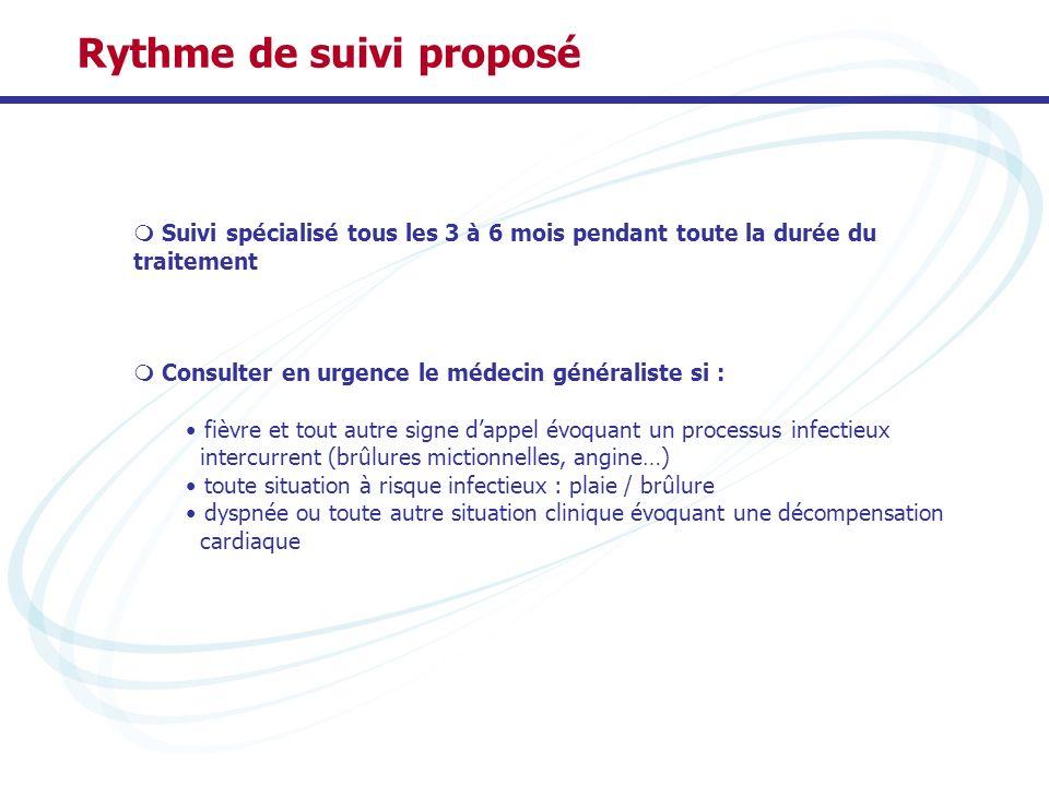 Rythme de suivi proposé Suivi spécialisé tous les 3 à 6 mois pendant toute la durée du traitement Consulter en urgence le médecin généraliste si : fiè