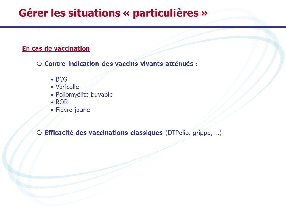 En cas de vaccination Contre-indication des vaccins vivants atténués : BCG Varicelle Poliomyélite buvable ROR Fièvre jaune Efficacité des vaccinations