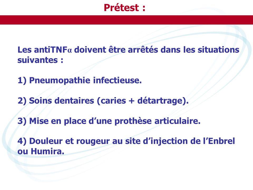 Prétest : Les antiTNF α doivent être arrêtés dans les situations suivantes : 1) Pneumopathie infectieuse. 2) Soins dentaires (caries + détartrage). 3)