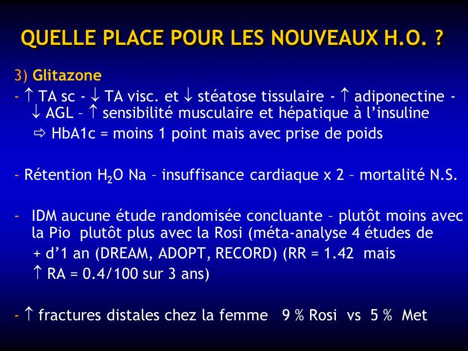 QUELLE PLACE POUR LES NOUVEAUX H.O. ? 1) IAG = absorption intest. des glucides - HbA1c = - 0,5 % - tolérance digestive = arrêt > 50 % des cas / 2 ans