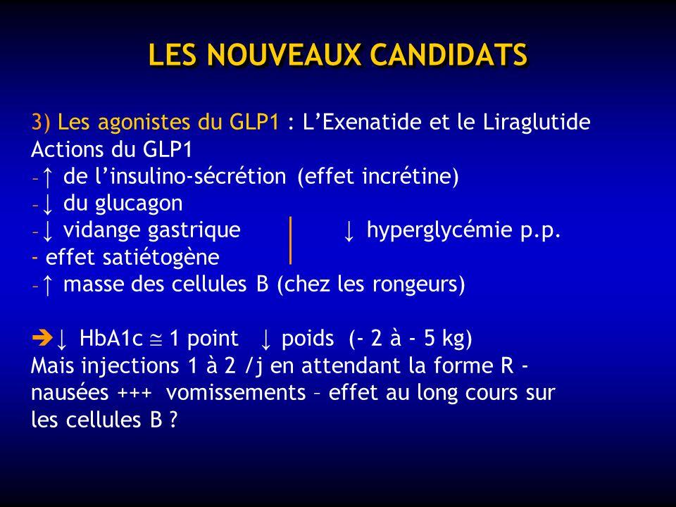LES NOUVEAUX CANDIDATS 2) Le Rimonabant Antagoniste des récepteurs CB1 du système endocanabinoïde : anorexigène - graisse viscérale ? - - Baisse dHbA1