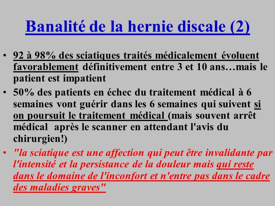 Banalité de la hernie discale (2) 92 à 98% des sciatiques traités médicalement évoluent favorablement définitivement entre 3 et 10 ans…mais le patient