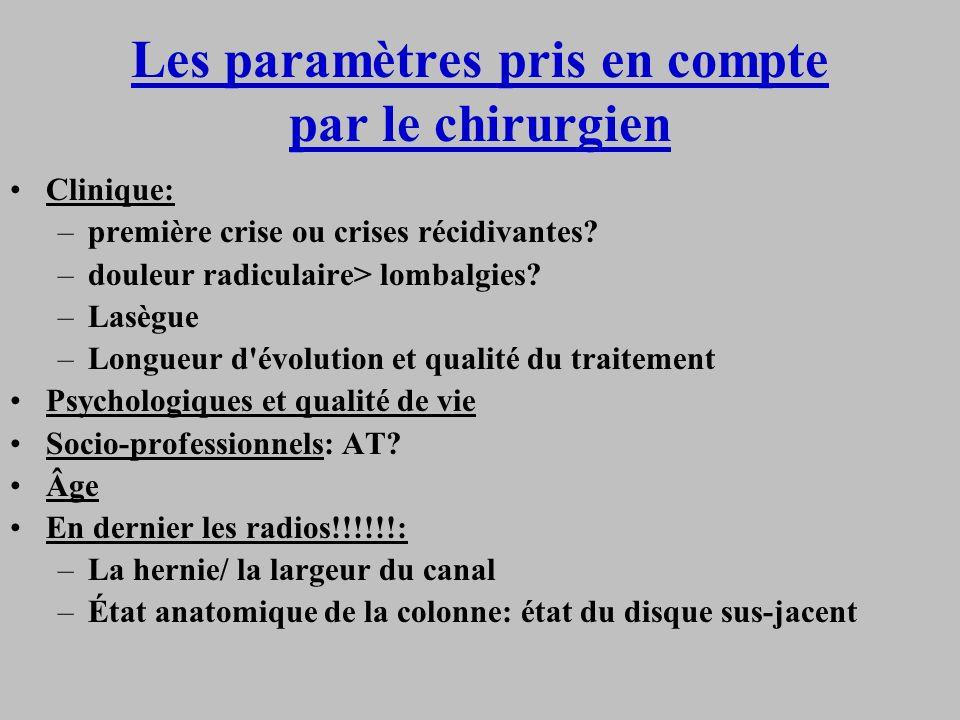 Les paramètres pris en compte par le chirurgien Clinique: –première crise ou crises récidivantes? –douleur radiculaire> lombalgies? –Lasègue –Longueur