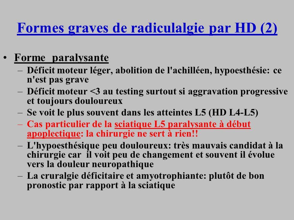Formes graves de radiculalgie par HD (2) Forme paralysante –Déficit moteur léger, abolition de l'achilléen, hypoesthésie: ce n'est pas grave –Déficit