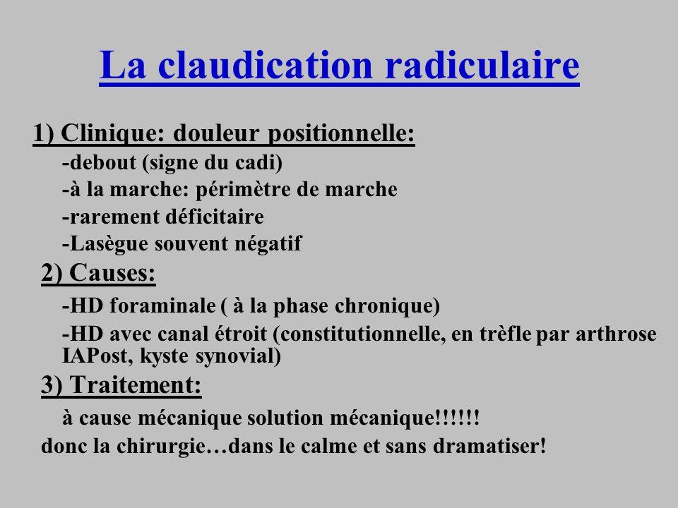 La claudication radiculaire 1) Clinique: douleur positionnelle: -debout (signe du cadi) -à la marche: périmètre de marche -rarement déficitaire -Lasèg