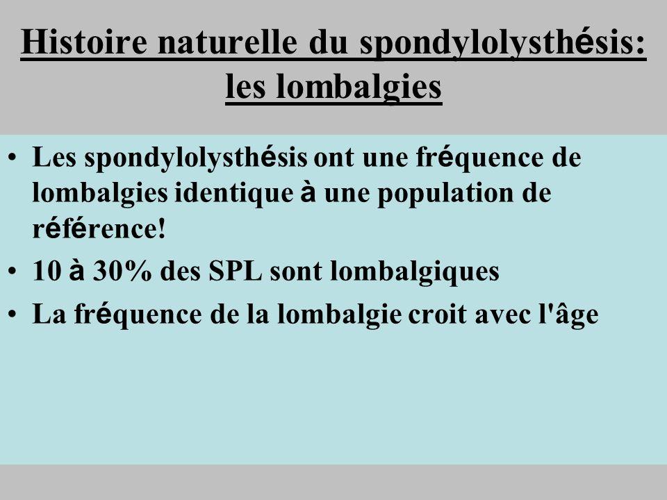 Histoire naturelle du spondylolysth é sis: les lombalgies Les spondylolysth é sis ont une fr é quence de lombalgies identique à une population de r é