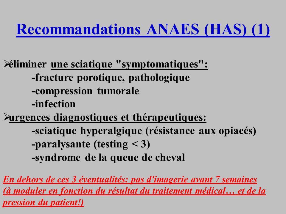 Recommandations ANAES (HAS) (1) éliminer une sciatique