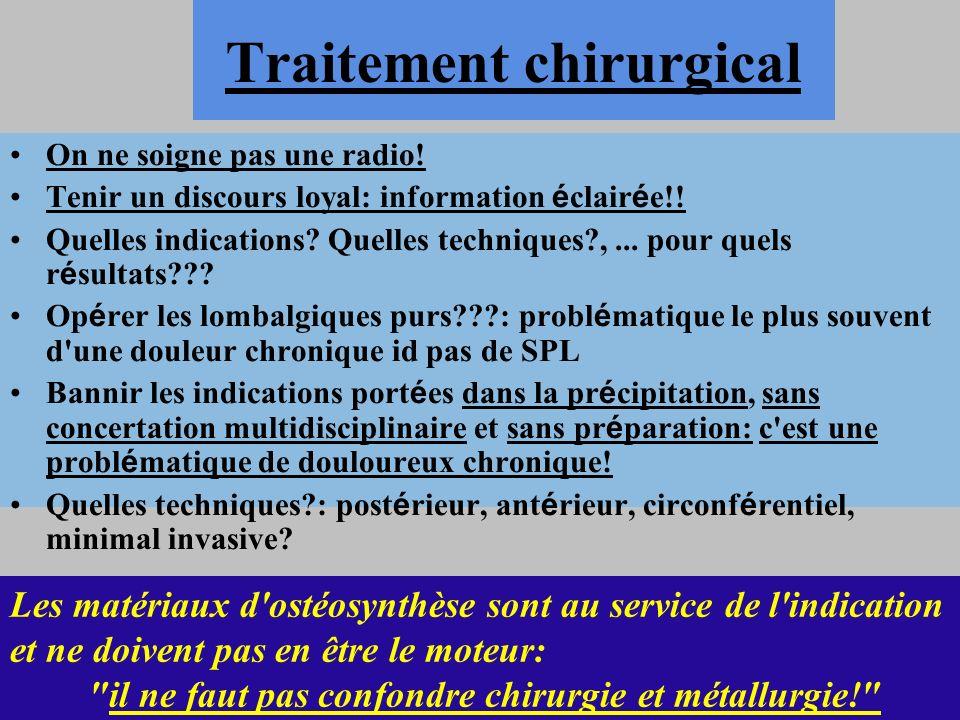 Traitement chirurgical On ne soigne pas une radio! Tenir un discours loyal: information é clair é e!! Quelles indications? Quelles techniques?,... pou