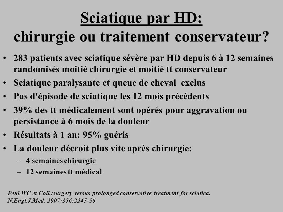 Sciatique par HD: chirurgie ou traitement conservateur? 283 patients avec sciatique sévère par HD depuis 6 à 12 semaines randomisés moitié chirurgie e