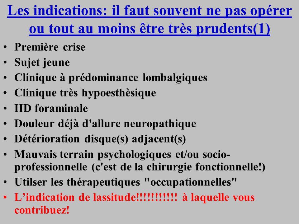 Les indications: il faut souvent ne pas opérer ou tout au moins être très prudents(1) Première crise Sujet jeune Clinique à prédominance lombalgiques