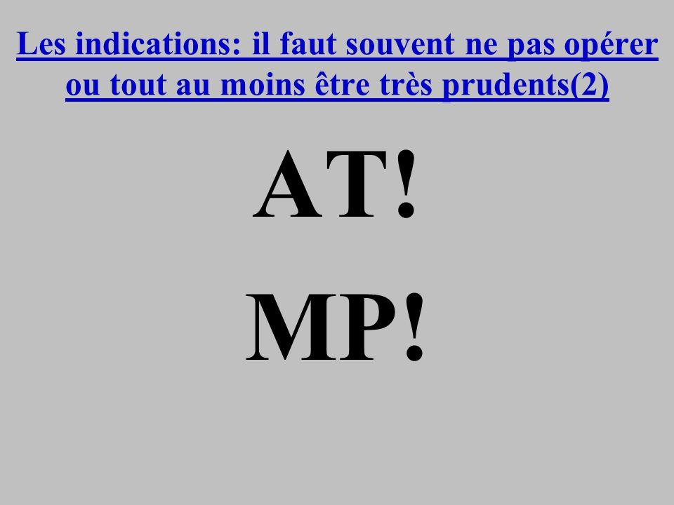 Les indications: il faut souvent ne pas opérer ou tout au moins être très prudents(2) AT! MP!