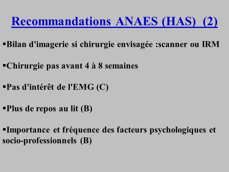 Recommandations ANAES (HAS) (2) Bilan d'imagerie si chirurgie envisagée :scanner ou IRM Chirurgie pas avant 4 à 8 semaines Pas d'intérêt de l'EMG (C)