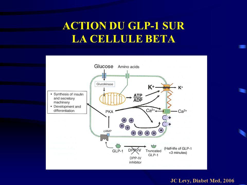 ACTION DU GLP-1 SUR LA CELLULE BETA JC Levy, Diabet Med, 2006