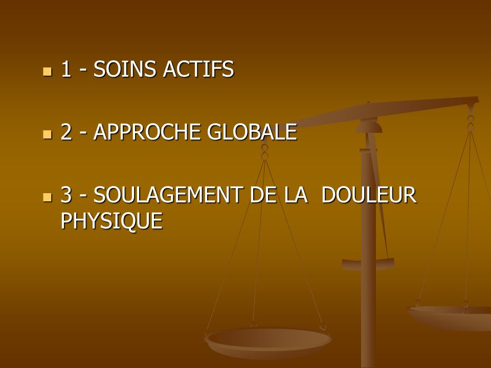 1 - SOINS ACTIFS 1 - SOINS ACTIFS 2 - APPROCHE GLOBALE 2 - APPROCHE GLOBALE 3 - SOULAGEMENT DE LA DOULEUR PHYSIQUE 3 - SOULAGEMENT DE LA DOULEUR PHYSI