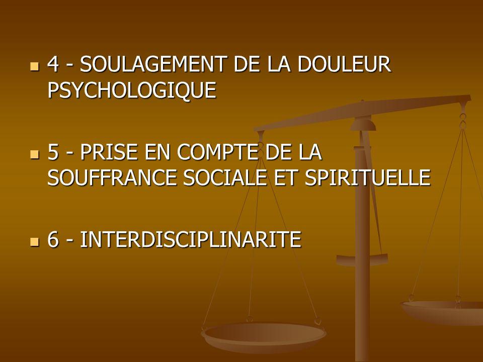 4 - SOULAGEMENT DE LA DOULEUR PSYCHOLOGIQUE 4 - SOULAGEMENT DE LA DOULEUR PSYCHOLOGIQUE 5 - PRISE EN COMPTE DE LA SOUFFRANCE SOCIALE ET SPIRITUELLE 5