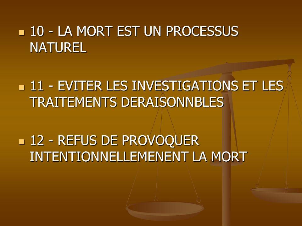 10 - LA MORT EST UN PROCESSUS NATUREL 10 - LA MORT EST UN PROCESSUS NATUREL 11 - EVITER LES INVESTIGATIONS ET LES TRAITEMENTS DERAISONNBLES 11 - EVITE