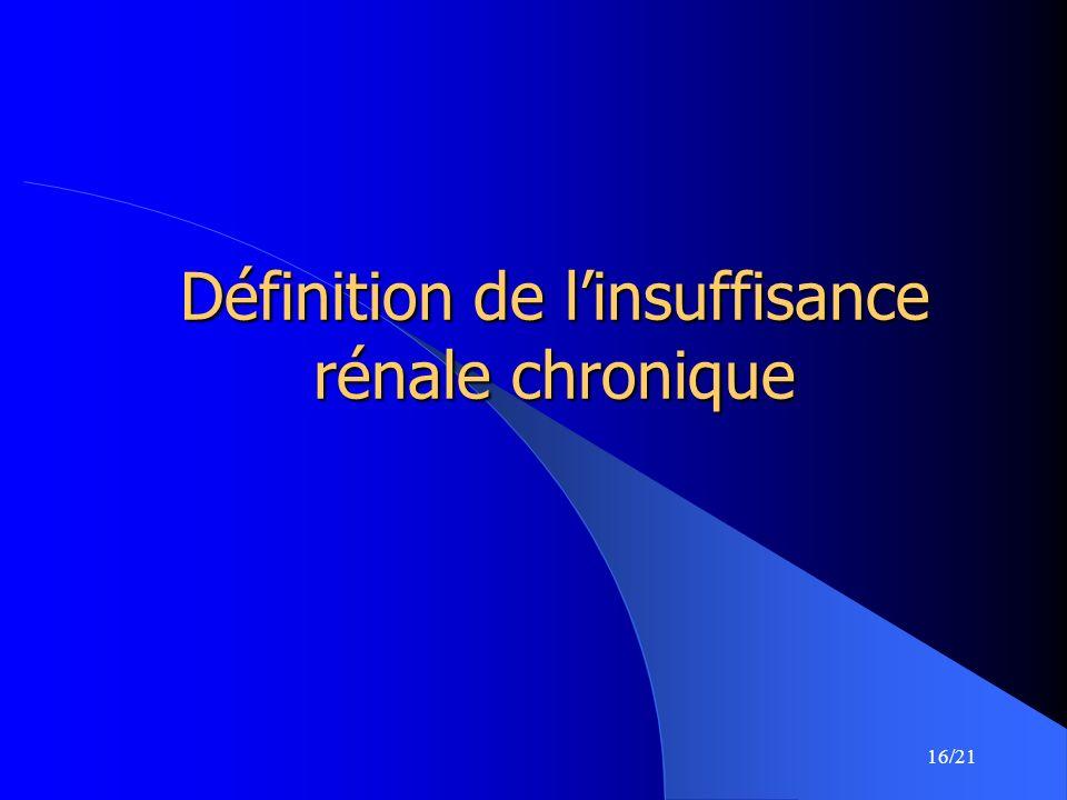 16/21 Définition de linsuffisance rénale chronique