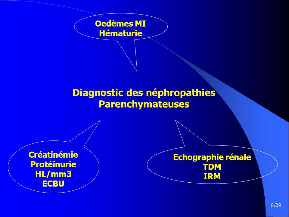 8/29 Diagnostic des néphropathies Parenchymateuses Echographie rénale TDM IRM Créatinémie Protéinurie HL/mm3 ECBU Oedèmes MI Hématurie