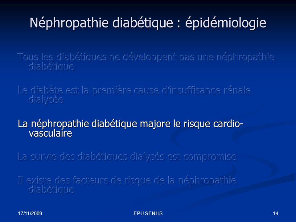 17/11/2009 14EPU SENLIS Néphropathie diabétique : épidémiologie