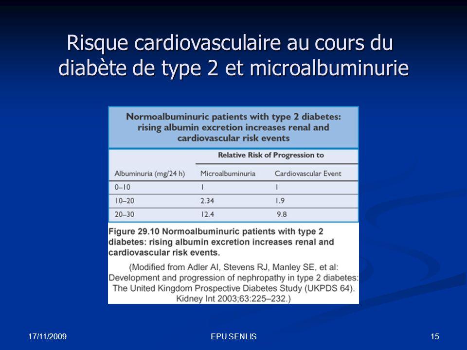 17/11/2009 15EPU SENLIS Risque cardiovasculaire au cours du diabète de type 2 et microalbuminurie