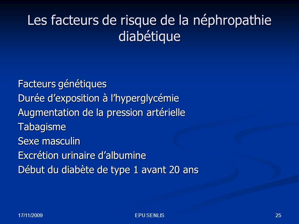 17/11/2009 25EPU SENLIS Les facteurs de risque de la néphropathie diabétique Facteurs génétiques Durée dexposition à lhyperglycémie Augmentation de la