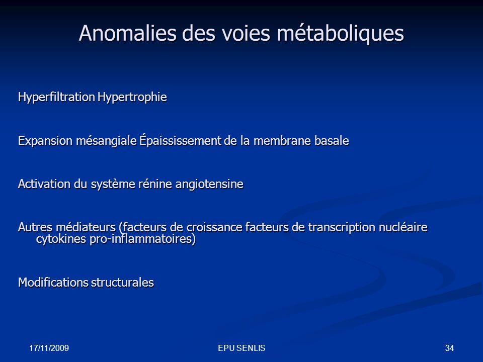 17/11/2009 34EPU SENLIS Anomalies des voies métaboliques Hyperfiltration Hypertrophie Expansion mésangiale Épaississement de la membrane basale Activa