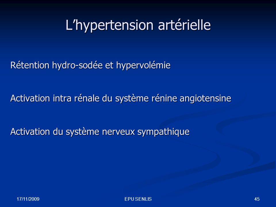 17/11/2009 45EPU SENLIS Lhypertension artérielle Rétention hydro-sodée et hypervolémie Activation intra rénale du système rénine angiotensine Activati