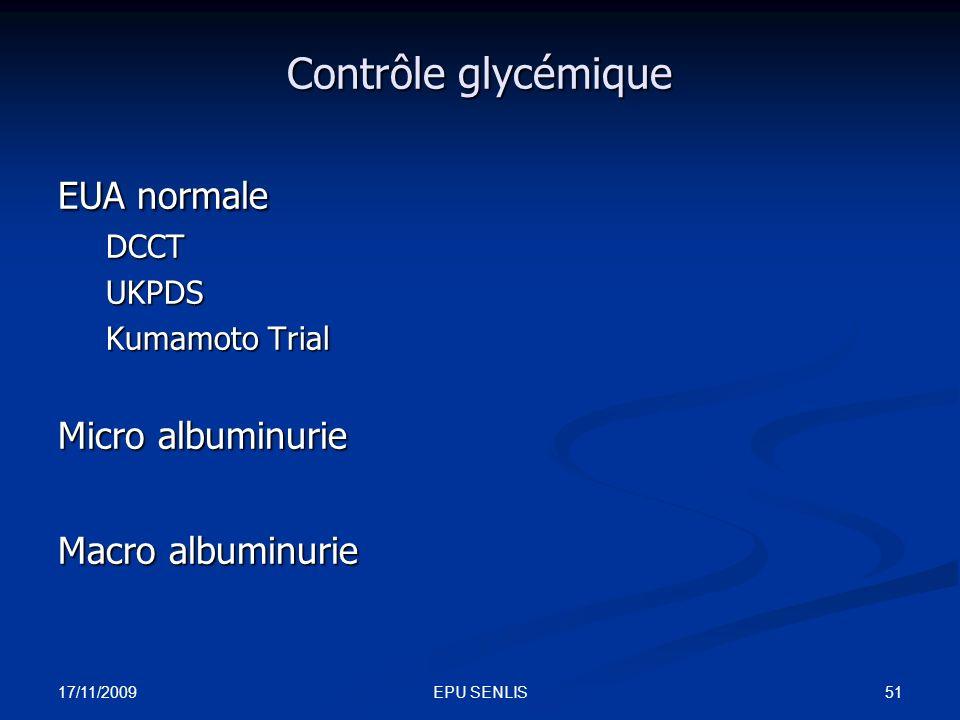 17/11/2009 51EPU SENLIS Contrôle glycémique EUA normale DCCTUKPDS Kumamoto Trial Micro albuminurie Macro albuminurie