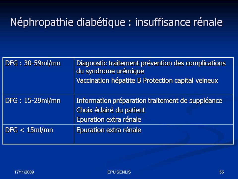 17/11/2009 55EPU SENLIS Néphropathie diabétique : insuffisance rénale DFG : 30-59ml/mn Diagnostic traitement prévention des complications du syndrome