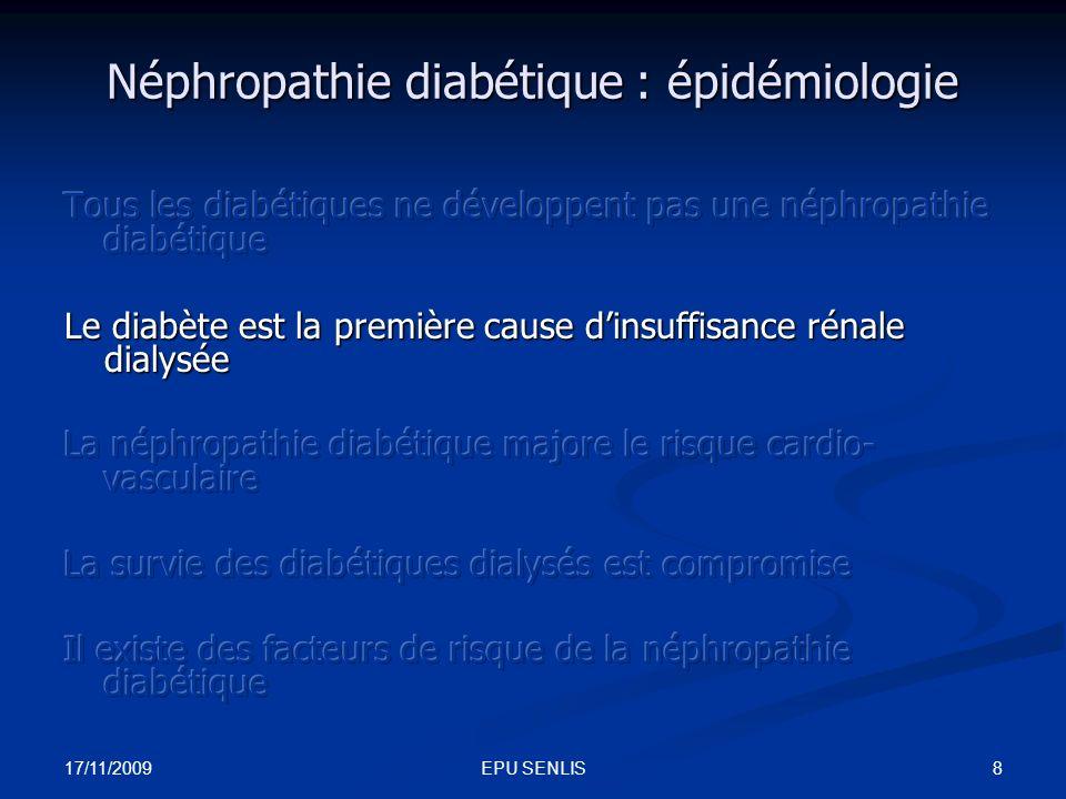17/11/2009 19EPU SENLIS Réduction du risque cardio-vasculaire lors des études prospectives comparant traitement anti HTA et placebo (diabète type 2) SHEPDiurétiques Beta bloquant ECV : -34%* AVC : -22% * IDM : -54% HOTInhibiteur CalciqueECV : -51% * AVC : -69% IDM -62% Syst-EurInhibiteur CalciqueECV : -62% * AVC : -69% * MCV : -70% * HOPEIECIDM : -22% * AVC : -33% * MCV : -37% *