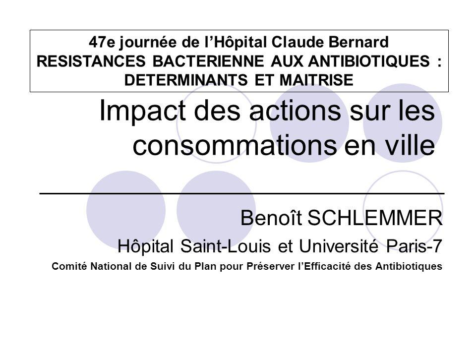 Impact des actions sur les consommations en ville Benoît SCHLEMMER Hôpital Saint-Louis et Université Paris-7 Comité National de Suivi du Plan pour Pré