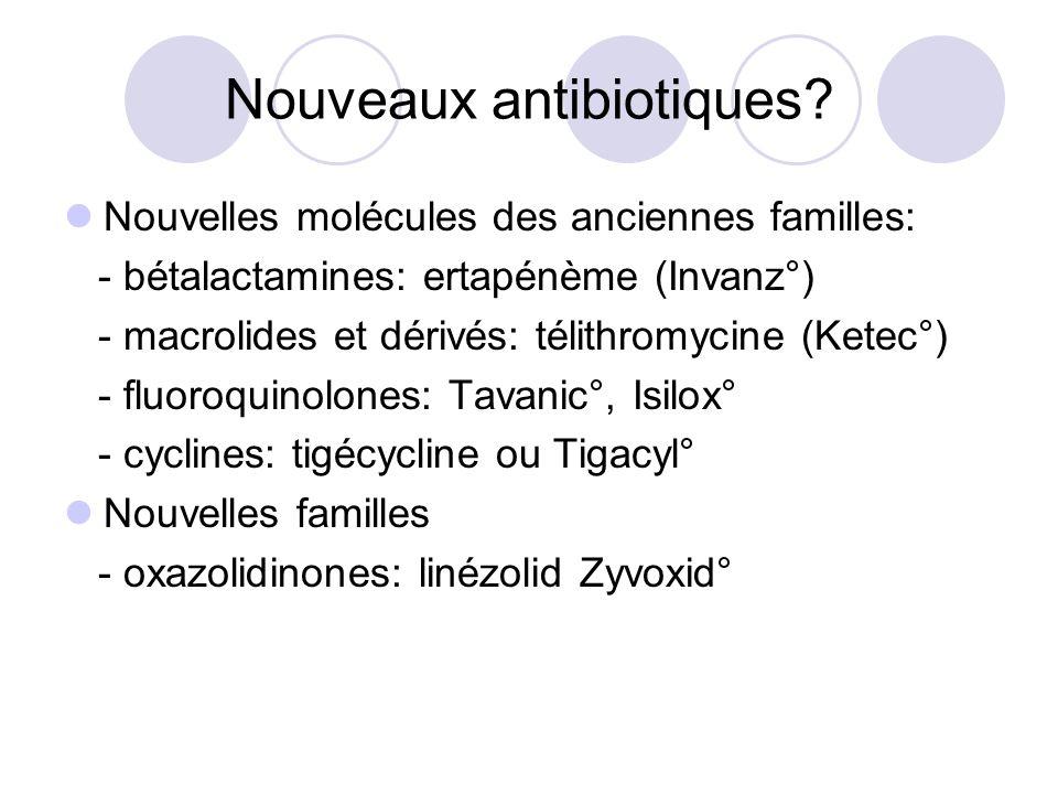 Nouveaux antibiotiques? Nouvelles molécules des anciennes familles: - bétalactamines: ertapénème (Invanz°) - macrolides et dérivés: télithromycine (Ke