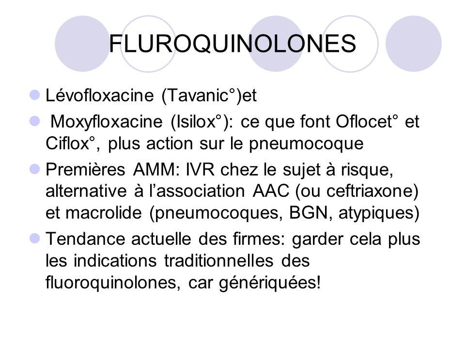 FLUROQUINOLONES Lévofloxacine (Tavanic°)et Moxyfloxacine (Isilox°): ce que font Oflocet° et Ciflox°, plus action sur le pneumocoque Premières AMM: IVR