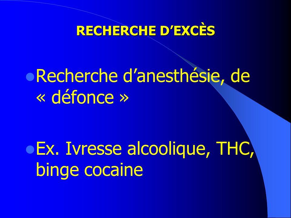 RECHERCHE DEXCÈS Recherche danesthésie, de « défonce » Ex. Ivresse alcoolique, THC, binge cocaine