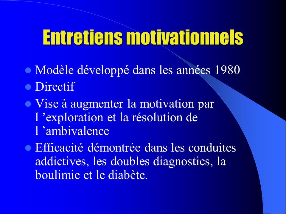 Entretiens motivationnels Modèle développé dans les années 1980 Directif Vise à augmenter la motivation par l exploration et la résolution de l ambivalence Efficacité démontrée dans les conduites addictives, les doubles diagnostics, la boulimie et le diabète.