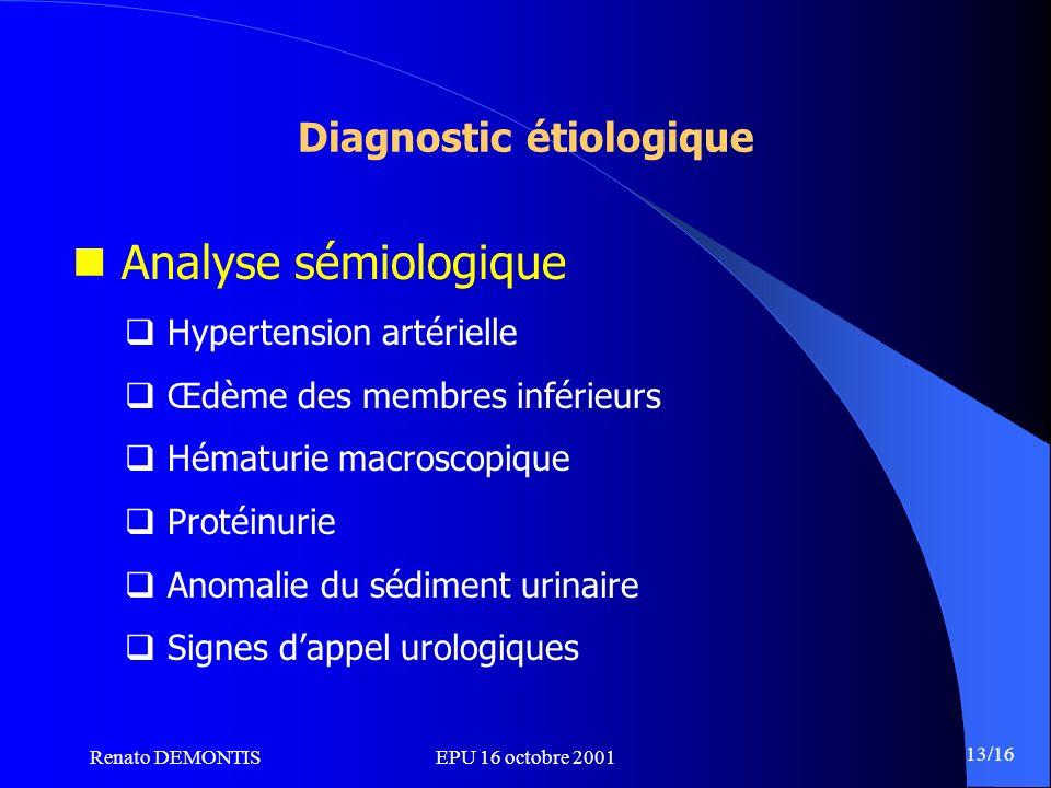 Renato DEMONTISEPU 16 octobre 2001 13/16 Diagnostic étiologique Analyse sémiologique Hypertension artérielle Œdème des membres inférieurs Hématurie ma