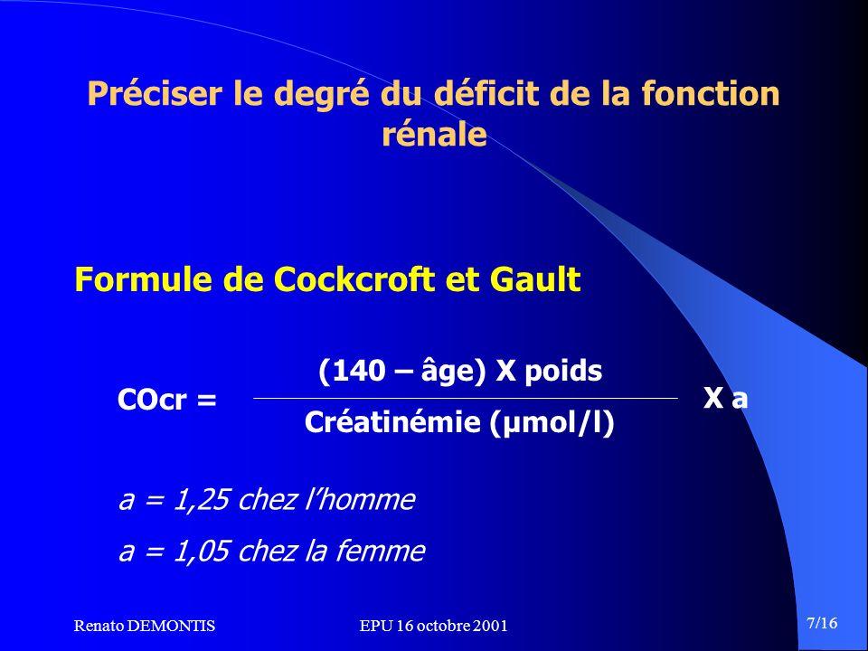 Renato DEMONTISEPU 16 octobre 2001 7/16 Préciser le degré du déficit de la fonction rénale Formule de Cockcroft et Gault COcr = (140 – âge) X poids Cr