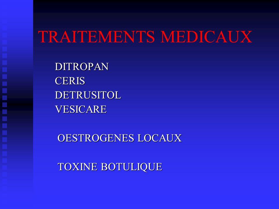 TRAITEMENTS MEDICAUX DITROPAN DITROPAN CERIS CERIS DETRUSITOL DETRUSITOL VESICARE VESICARE OESTROGENES LOCAUX OESTROGENES LOCAUX TOXINE BOTULIQUE TOXI