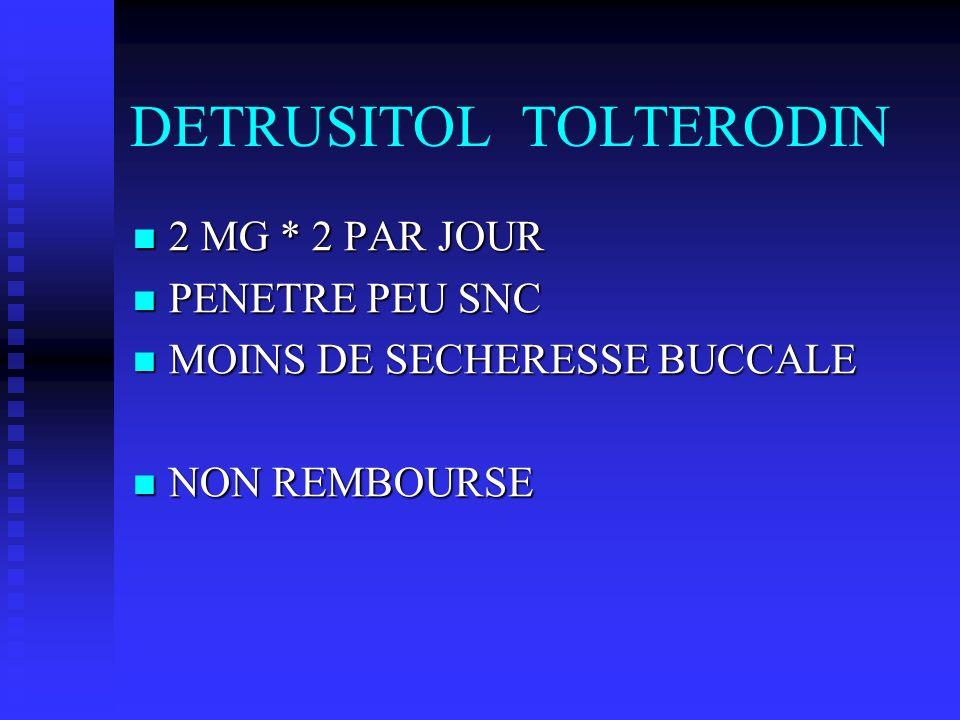 DETRUSITOL TOLTERODIN 2 MG * 2 PAR JOUR 2 MG * 2 PAR JOUR PENETRE PEU SNC PENETRE PEU SNC MOINS DE SECHERESSE BUCCALE MOINS DE SECHERESSE BUCCALE NON