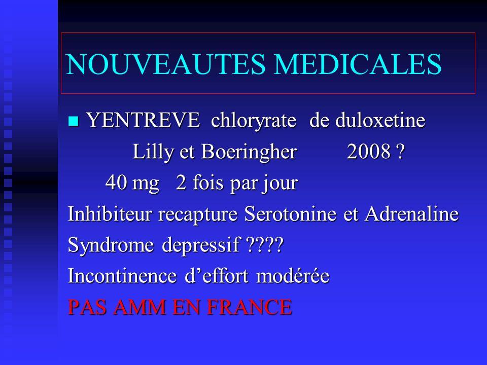 NOUVEAUTES MEDICALES YENTREVE chloryrate de duloxetine YENTREVE chloryrate de duloxetine Lilly et Boeringher 2008 ? Lilly et Boeringher 2008 ? 40 mg 2