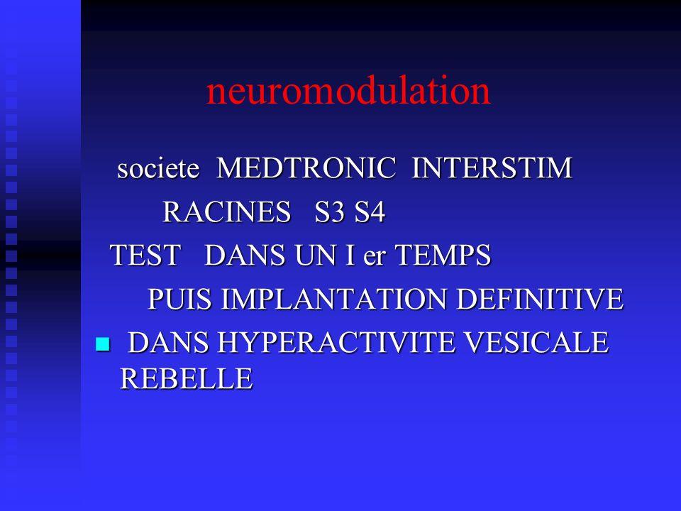 neuromodulation societe MEDTRONIC INTERSTIM societe MEDTRONIC INTERSTIM RACINES S3 S4 RACINES S3 S4 TEST DANS UN I er TEMPS TEST DANS UN I er TEMPS PU