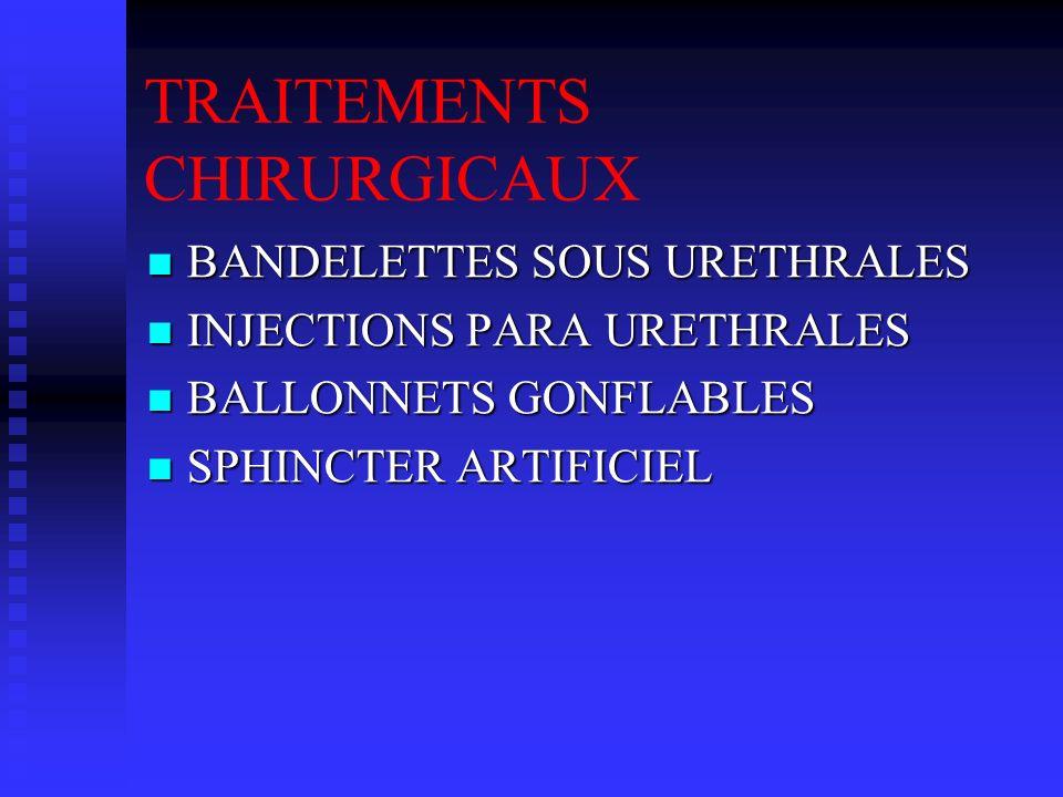 TRAITEMENTS CHIRURGICAUX BANDELETTES SOUS URETHRALES BANDELETTES SOUS URETHRALES INJECTIONS PARA URETHRALES INJECTIONS PARA URETHRALES BALLONNETS GONF