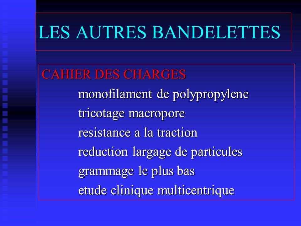 LES AUTRES BANDELETTES CAHIER DES CHARGES monofilament de polypropylene monofilament de polypropylene tricotage macropore tricotage macropore resistan