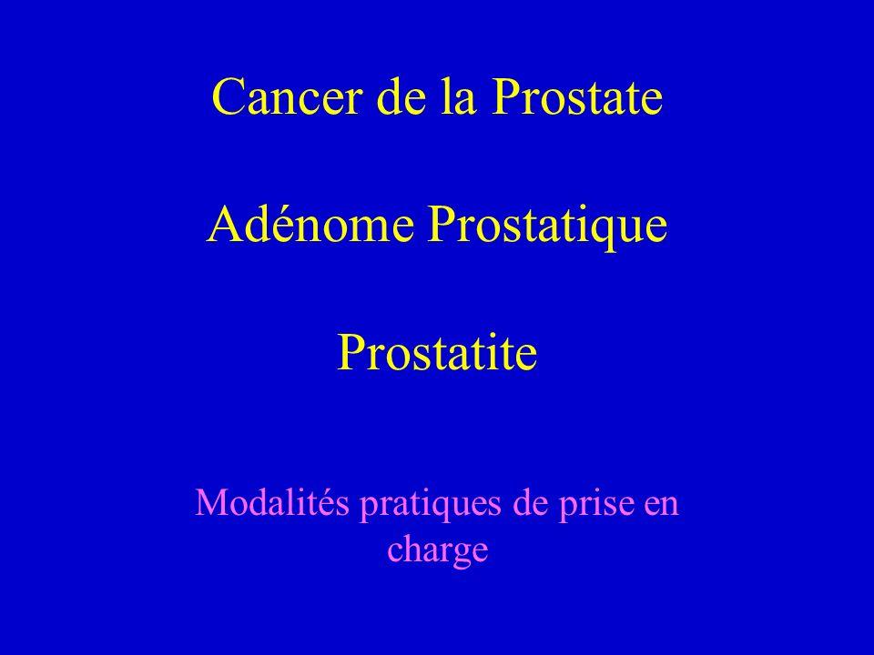 Cancer de la Prostate Adénome Prostatique Prostatite Modalités pratiques de prise en charge