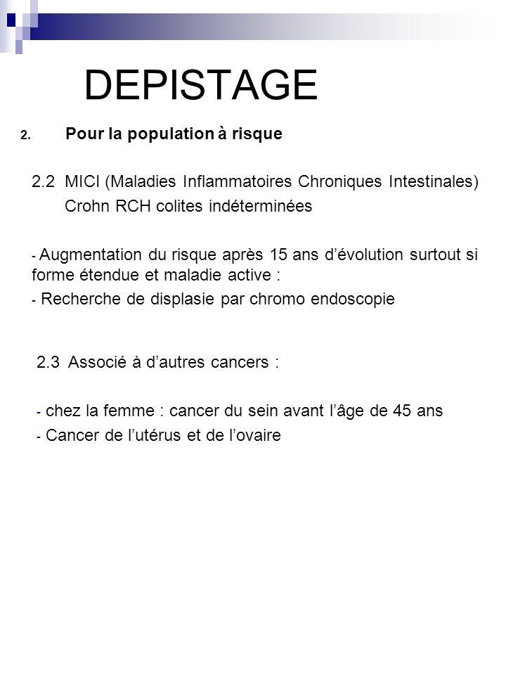 DEPISTAGE 2. Pour la population à risque 2.2 MICI (Maladies Inflammatoires Chroniques Intestinales) Crohn RCH colites indéterminées - Augmentation du