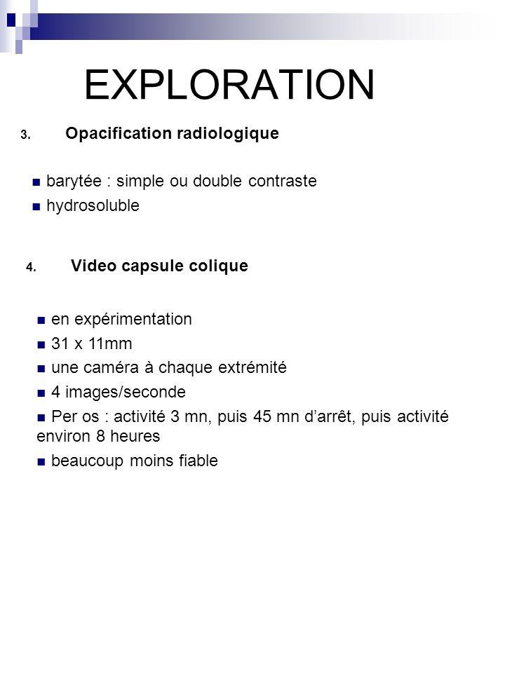 EXPLORATION 3. Opacification radiologique barytée : simple ou double contraste hydrosoluble 4. Video capsule colique en expérimentation 31 x 11mm une