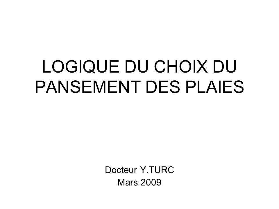 LOGIQUE DU CHOIX DU PANSEMENT DES PLAIES Docteur Y.TURC Mars 2009